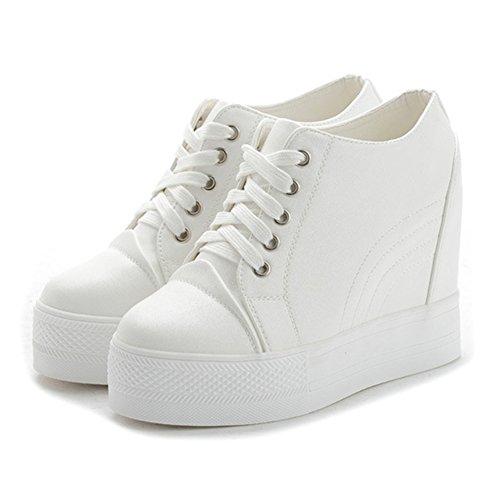 Giy Dames Wintermode Lage Top Sneaker Platform Dikke Bodem Verhoogde Hoogte Wedge Casual Sportschoenen Wit Zonder Pelsvoering