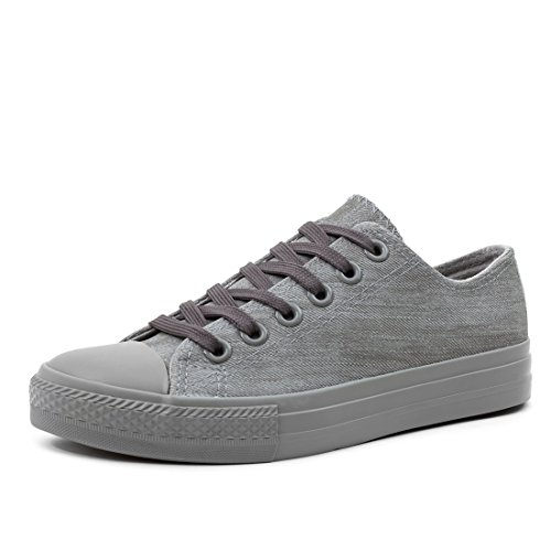 Trendige Unisex Damen Kinder Herren Schnür Sneaker Low Top Schuhe Canvas Textil Grau Jeansoptik