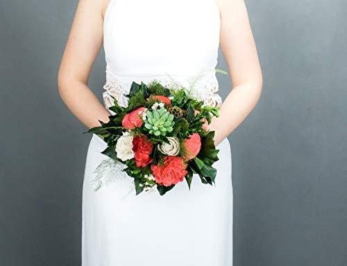 Vibrant Coral and Green Tropical Bridal Bridesmaid Bouquet