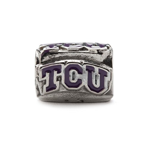 (Texas Christian University Charm | TCU Horned Frogs - Block TCU Charm | Officially Licensed Texas Christian University Jewelry | TCU Gifts| TCU Logo | Stainless Steel)