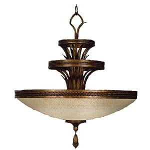Fine Art Lamps 548640ST 3-Light Fontana Bella Bowl Large Pendant, Variegated Bronze