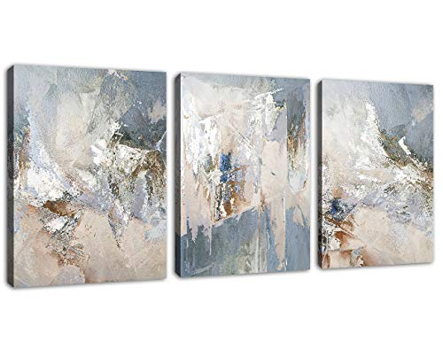 "Abstract Canvas Wall Art Modern Abstract Painting Prints Blue Grey Canvas Pictures Artwork Contemporary Wall Art for Bedroom Living Room Bathroom Decoration Framed Ready to Hang 12"" x 16"" x 3 Pieces"