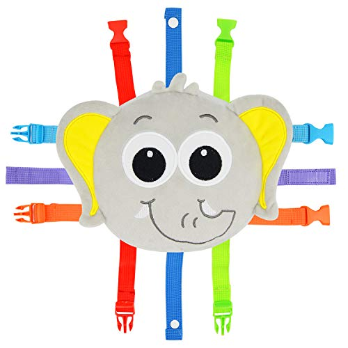 Toddler Early Learning Toy with Buckles, Self Adhesive Tape, Crinkle Paper and Numbers, Kids Cartoon Travel Toy, Preschool Toy for Developing Fine Motor Skills, Ideal Gift for Babies (Elephant)