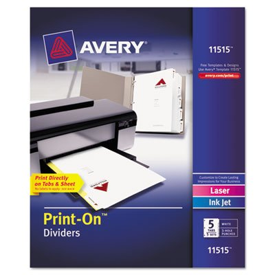 - Avery Print-On Dividers, 5-Tab, 3-Hole Punched, 8-1/2 x 11, White, 5 Sets/Pack