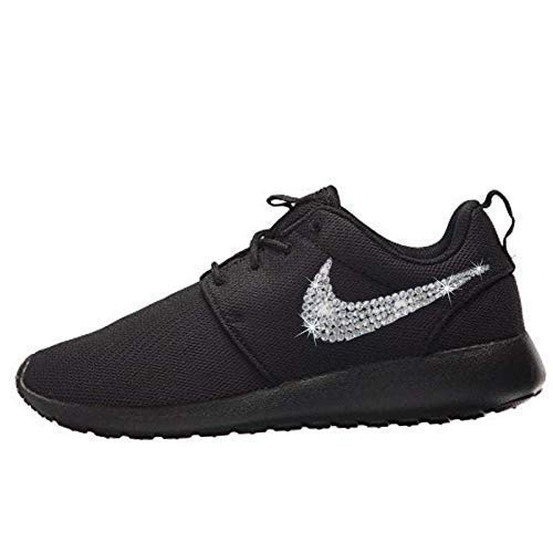 59f1b5cea9ad2 Image Unavailable. Image not available for. Color  Women s NIKE Roshe One  Casual Shoes with Swarovski All BLACK Bedazzled Kicks