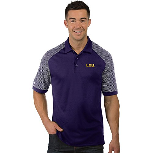 Antigua NCAA LSU Tigers Men's Engage Polo Shirt Dark Purple/White