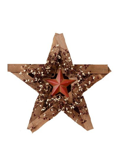 Your Heart's Delight Wood and Metal Star with Burgundy and Cream Berry Wreath, 19 by (Metal Swag)
