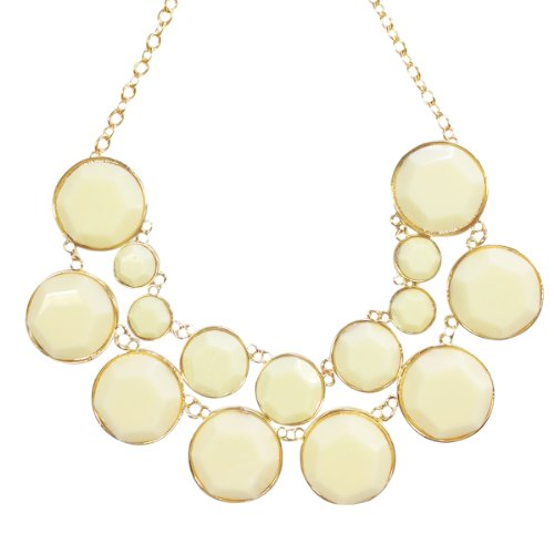 Wrapables Designer Inspired Double Layer Bubble Necklace, Cream (Bubble Cream)