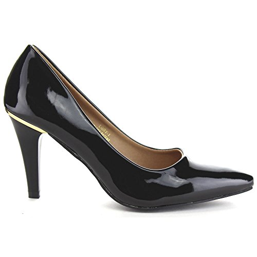 BELLA MARIE LORY-1 Womens Pointed Toe Slip On Office Dress Pumps, Color:BLACK, Size:7