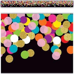 (Colorful Confetti on Black Straight Border)