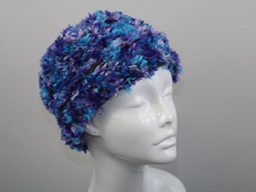 - Reversible Shaped Hat in Blues and Purples - Cloche or Brimmed
