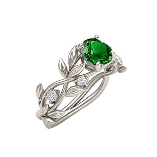 - Elegant Wedding Bridal Leaves Vine Hollow Shiny Faux Rhinestone Lady Ring Jewelry - Green US 6