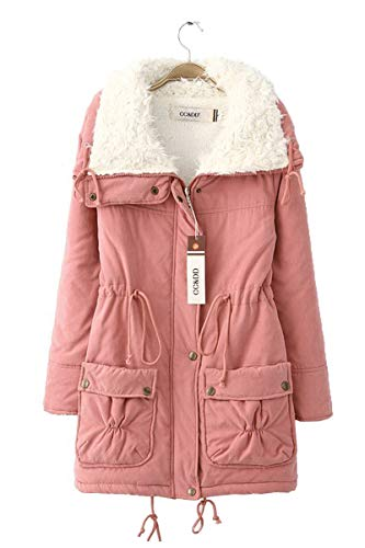 FOURSTEEDS Women's Winter Faux Sheep Curl Collar Parkas Sherpa Lined Jacket Coat Mid Length Outwear Pink M (fits Like US 6)
