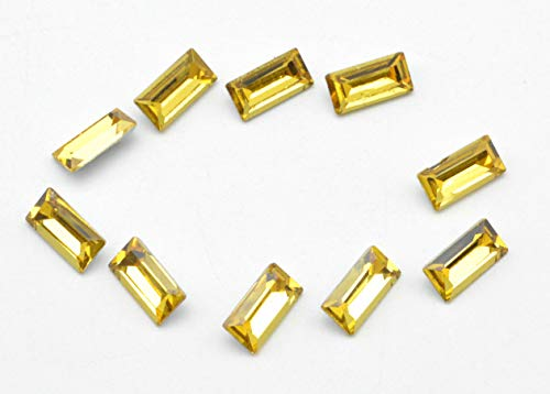 (Catotrem Baguette Rhinestone Rectangle Pointback Crystal Glass Stone Silver Plated for Nails Art Jewelry Making(5x10mm) Yellow)