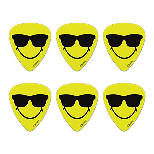 (Smiley Smile Happy Sunglasses Yellow Face Novelty Guitar Picks Medium Gauge - Set of 6)