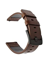 TRUMiRR 24mm Genuine Oily Leather Watch Band Quick Release Wrist Strap for Smartwatch 2 SW2, Suunto Traverse?Panerai 44mm, Other 24mm Lug Wide Smart and Traditional Watches