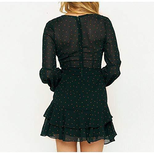 Vintage Mini Robe Polka S Pink Dot Corta V Yreopw Dress M Neck Abito Layered Donna Ruffle Estate Manica Maglia Primavera Corto dTFUqg4n