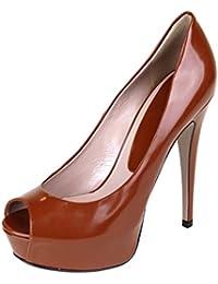 Women's Brown Leather Platform Peep Toe Heel Pumps 323529