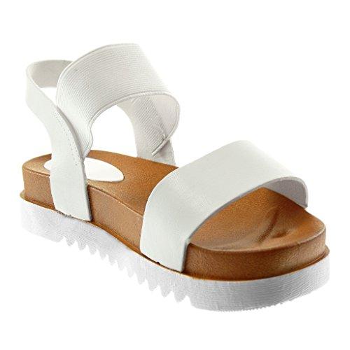 Elástico 4 Mujer Tobillo Correa Tanga Angkorly Plataforma Blanco De Sandalias Moda Cm Zapatillas Suela cqcw8fTU