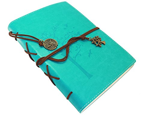 Valery Rustic Classic PU Leather Writing Lined Journal Diary with Acid Free Paper -8.546.2'-160 Sheets 320 Pages-PU leather (Treeoflife-Aqua) - Leather Journals And Diaries