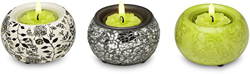 Up Words by Pavilion Chartreuse Mini Tea Light Candle Holders, Set of 3, Each 2-1/2-Inch Long, Tea Light Candles Included -