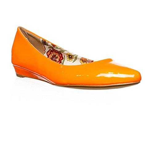 2 Lips Too Too Silver Ballet Flats - Orange Orange
