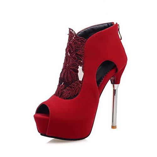 Donne Amoonyfashion calzature smerigliato Smerigliato Aperta Solido Punta Della Tacchi Rosso Pigolio Pompe Cerniera rrBdq8