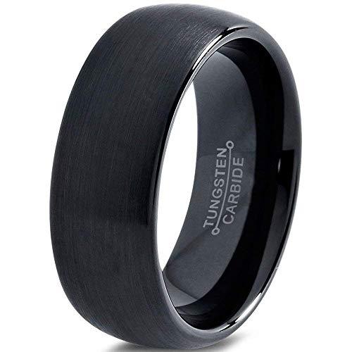Brushed Laser - Tungsten Wedding Band Ring 8mm for Men Women Comfort Fit Black Domed Brushed FREE Custom Laser Engraving Lifetime Guarantee
