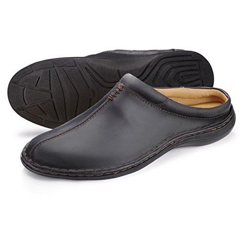 Men's Leather Slipper Mule Handmade Slip On Outdoor Indoor Footwear, Churchill In Brown, Black and Brown Fleece Lined Black