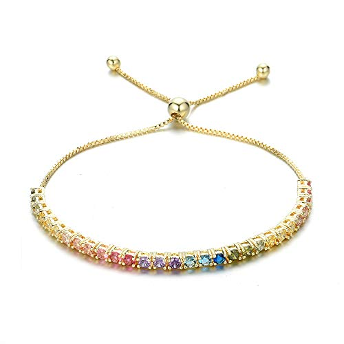 - NYC Sterling Cubic Zirconia Women Round 3MM Rainbow Adjustable Bracelet (Gold-Plated-Brass)