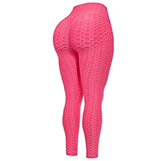 Beyondfab Women's High Waist Textured Butt Lifting Slimming Workout Leggings Tights Neon Pink SM