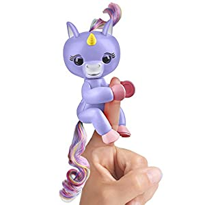 Fingerlings Baby Unicorn – Alika (Purple with Rainbow Mane and Tail) – Interactive Baby Pet – WowWee