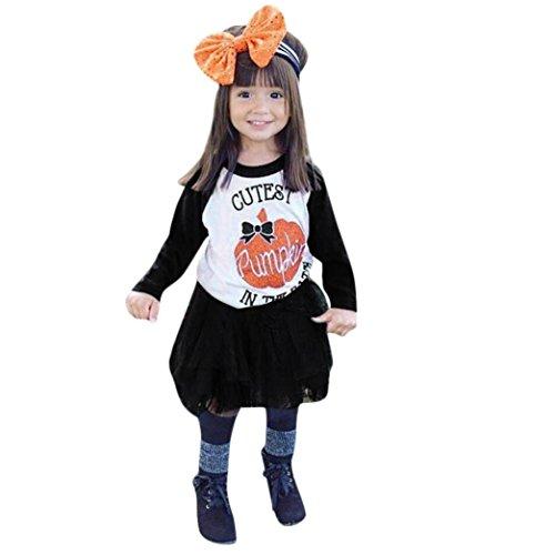 Halloween Dresses for Girls Toddler Pumpkin Cutest Print Tops+Tutu Skirt Party Show Costume Fancy Creative Cosplay (Black, 2T) ()