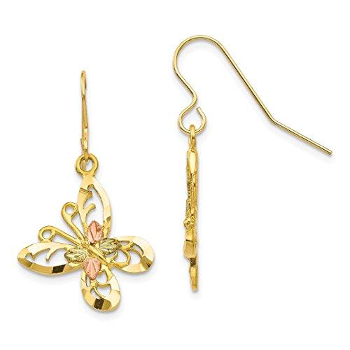 10k Tri Color Black Hills Gold Butterfly Shepherd Hook Drop Dangle Chandelier Earrings Animal Fine Jewelry For Women Gift Set
