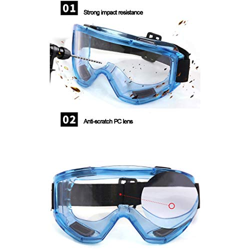 AduYan Protective Safety Goggles Anti-Splash and Anti-dust Safety Glasses Transparent Laboratory Safety Goggles (Color : Blue)