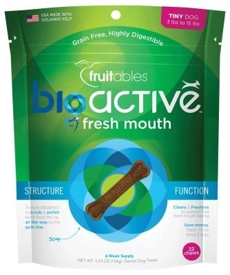 Cheap Fruitables BioActive Fresh Mouth Grain Free USA Made Dental Chews (Tiny Dog, Pack of 6)