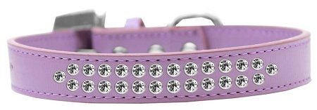 Mirage Pet Products Two Row Clear Crystal Lavender Dog Collar, Size 20 by Mirage Pet Products