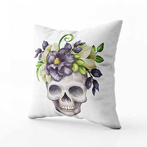 Musesh Cushions Throw Pillow Ccovers Watercolor Halloween Floral Skull Black Flowers Autumn Pumpkin Festive Clip Art Isolated White for Sofa Home Decorative Pillowcase 16X16Inch Pillow Covers]()