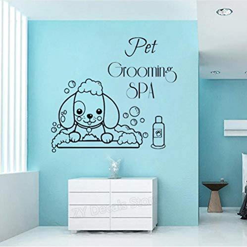 (Wall Sticker Pet Grooming Spa Wall Decals Pet Shop Wall Window Decor Vinyl Stickers Cute Dog Wallpaper Animal)