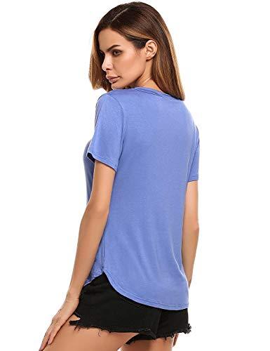 Shirts Manga Camisas Basicas Corta Moda Color Blanco Slim Moda con Tops Ropa V Vintage Mujer Cuello Sólido Camisetas Festivo Joven Coat Cordones Verano Elegantes Fit Blusas qgxFEWtOw