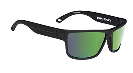 faa9721cb2 Image Unavailable. Image not available for. Color  Spy Optic Rocky  Sunglasses Soft Matte Black w Happy Bronze Polarized Green Spectra Lens