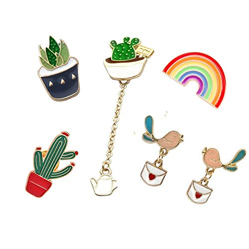 Cute Enamel Lapel Pins Sets Cartoon Animal Plant Fruits Foods Brooches Pin Badges for Clothing Bags Backpacks Jackets Hat DIY (Plant Rainbow Pins Pigeon Earring Sets)