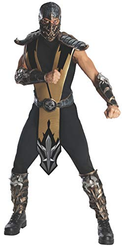 (Mortal Kombat Scorpion Adult Costume, Gold, One)