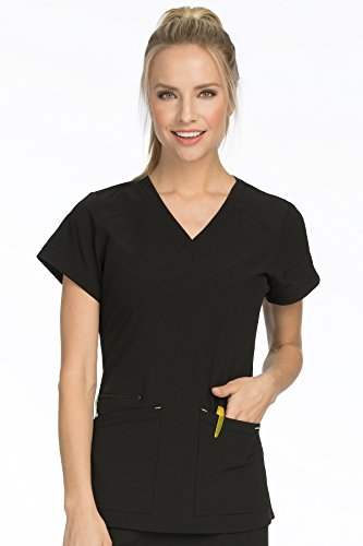 Med Couture Women's 'Air Collection' V-Neckline Sky High Scrub Top, Black/Apple, XXX-Large ()
