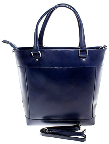 classique 100 véritable cuir sac avec poignées in sac Made main femme à Bleu Italy CTM 34x36x10cm qP4npERwp