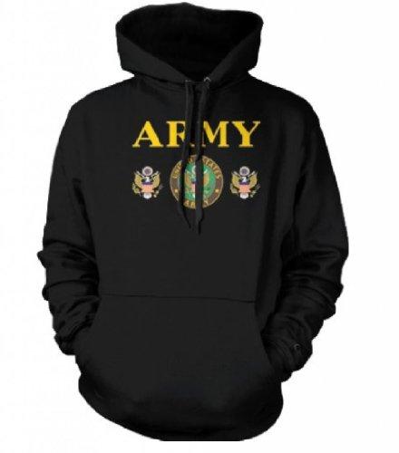 United States Army Emblem Mens Sweatshirt, US Great Seal Army Pullover Hoodie, Black, Large