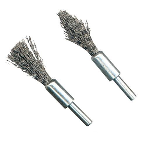 TOOGOO(R) Power Tool Accessories Wire Cups De-Carb Brush Set 2pcs 6mm Shank Steel wire brushes for removing carbon deposits from engine components. 1 x flat and 1 x pointed tip, 6mm for power drills