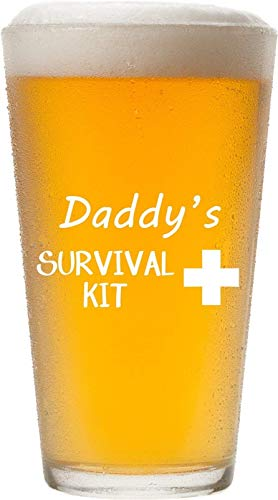Daddy's Survival Kit - Funny 16 oz Pint Glass, Permanently Etched, Gift for Dad, Co-Worker, Friend, Boss, Christmas, New Dad Gift, First Father's Day - -