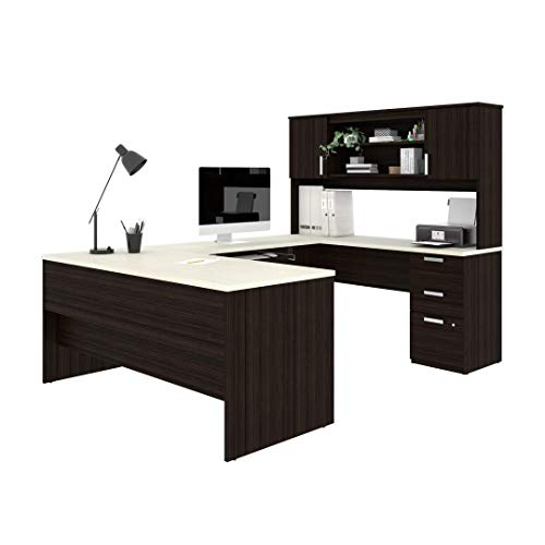 (Bestar U-Shaped Desk with Pedestal and Hutch - Ridgeley)