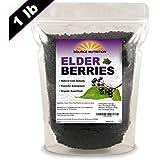 Dried Elderberries by Source Nutrition - Organic, Wild Crafted, Fresh Harvest - Sambucas Nigra (1 Pound)